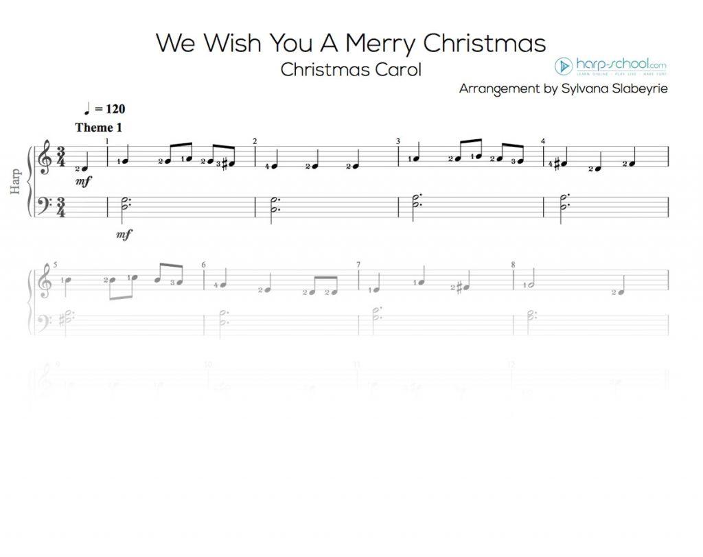 We wish you a merry christmas - Sheet music | Harp School